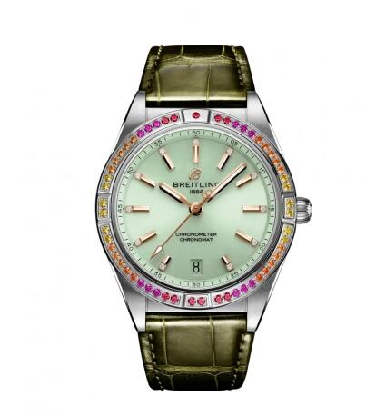 Breitling Chronomat Automatic 36 South Sea Stainless Steel Mint Green Replica Watch A10380611L1P1