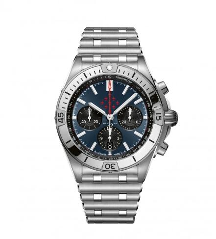 Breitling Chronomat B01 42 Stainless Steel / Red Arrows / Rouleaux Replica Watch AB01347A1C1A1