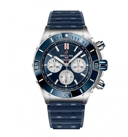 Breitling Super Chronomat B01 44 Stainless Steel Blue Rubber Replica Watch AB0136161C1S1