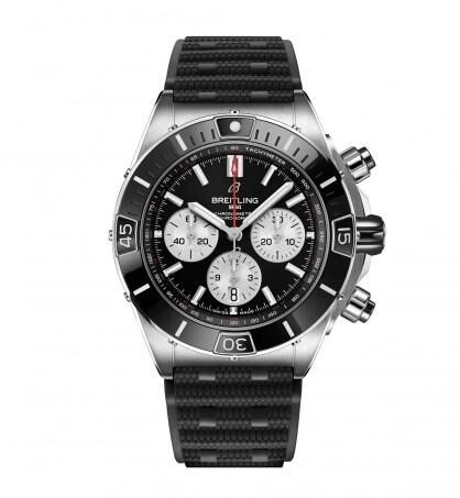 Breitling Super Chronomat B01 44 Stainless Steel Black Rubber Replica Watch AB0136251B1S1