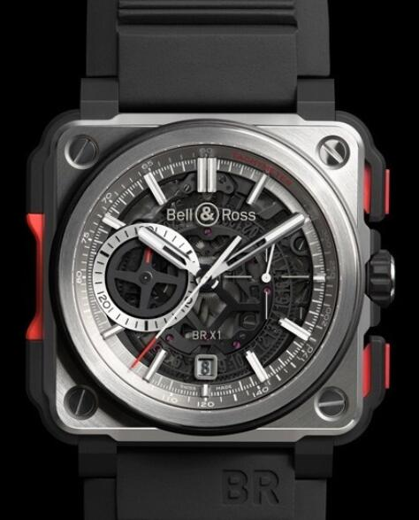 Bell & Ross Replica Watch BR-X1 Skeleton Chronograph AVIATION BR X1-CE-TI-RED Titanium and ceramic - Rubber bracelet