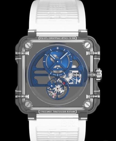 Replica bell and ross watches price BR-X1 Skeleton Tourbillon EXPERIMENTAL BRX1-SKTB-SABLU Sapphire - Skeletonized Dial - Rubber Strap