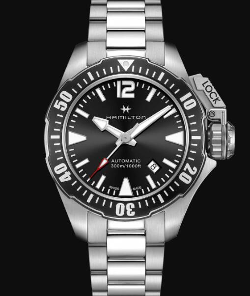 Hamilton Khaki Navy Review Automatic Watch Frogman Black Dial Replica H77605135