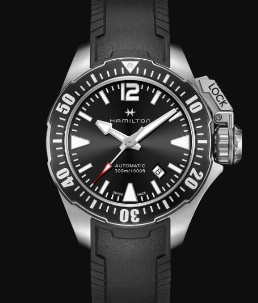 Hamilton Khaki Navy Review Automatic Watch Frogman Black Dial Replica H77605335