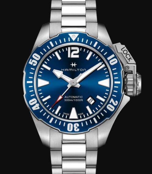 Hamilton Khaki Navy Review Automatic Watch Frogman Blue Dial Replica H77705145