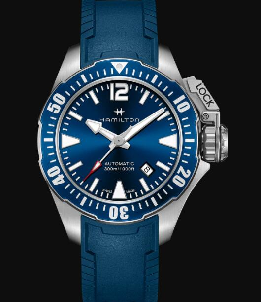 Hamilton Khaki Navy Review Automatic Watch Frogman Blue Dial Replica H77705345