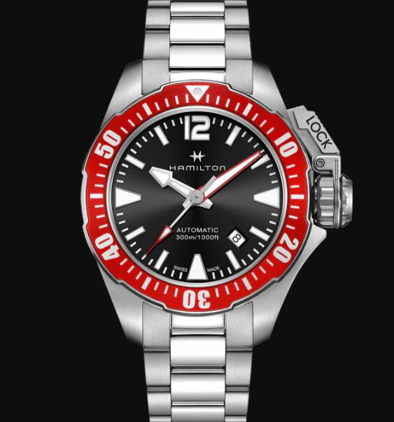 Hamilton Khaki Navy Review Automatic Watch Frogman Black Dial Replica H77725135