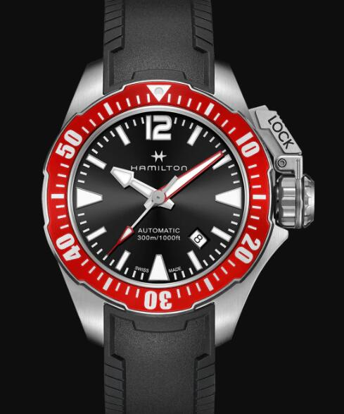 Hamilton Khaki Navy Review Automatic Watch Frogman Black Dial Replica H77725335