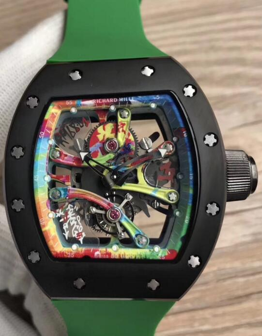 Buy Richard Mille RM 68-01 Kongo Tourbillon skeleton green Rubber watches